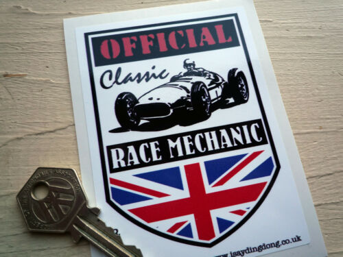 OFFICIAL CLASSIC RACE MECHANIC STICKER Features a classic Formula 1 car