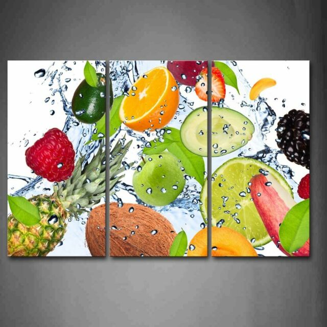 colorful posters prints various fruit with splash water wall art