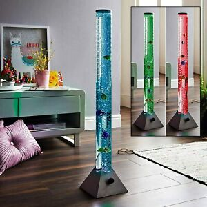 Colour Changing LED Bubble Lamp Fish Water Tube Light Floor Lamps with Remote