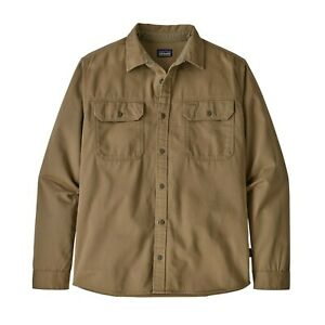 Patagonia-Men-039-s-Long-Sleeved-Four-Canyons-Twill-Shirt-Mojave-Khaki