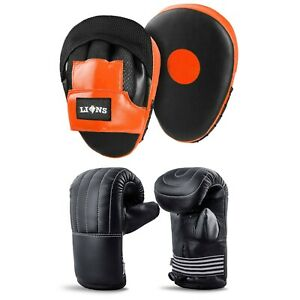 2pc Boxing Gloves and Focus Pads Set Hook Jabs Mitts Punch Bag Gym Training MMA