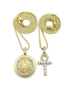 Silver Tone Egyptian Pave Double Ankh Pendant 24 Various Chain 2 Necklace Set in Gold