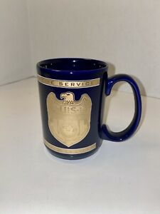 RARE-NCIS-NAVAL-CRIMINAL-INVESTIGATION-GOLD-GRAPHICS-Ceramic-Coffee-Mug-VINTAGE