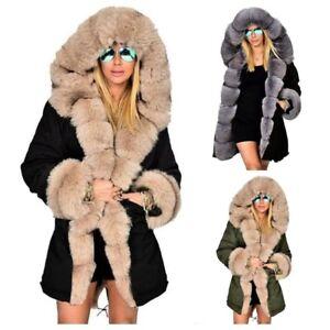 Femmes hiver fausse fourrure col long manteau à capuche veste épaisse Parka