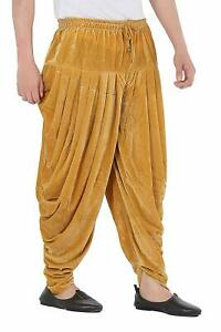 Patiala-Pants-Salwar-fuer-Maenner-Samt-elastischer-Bund-handgefertigt-laessig-Wear