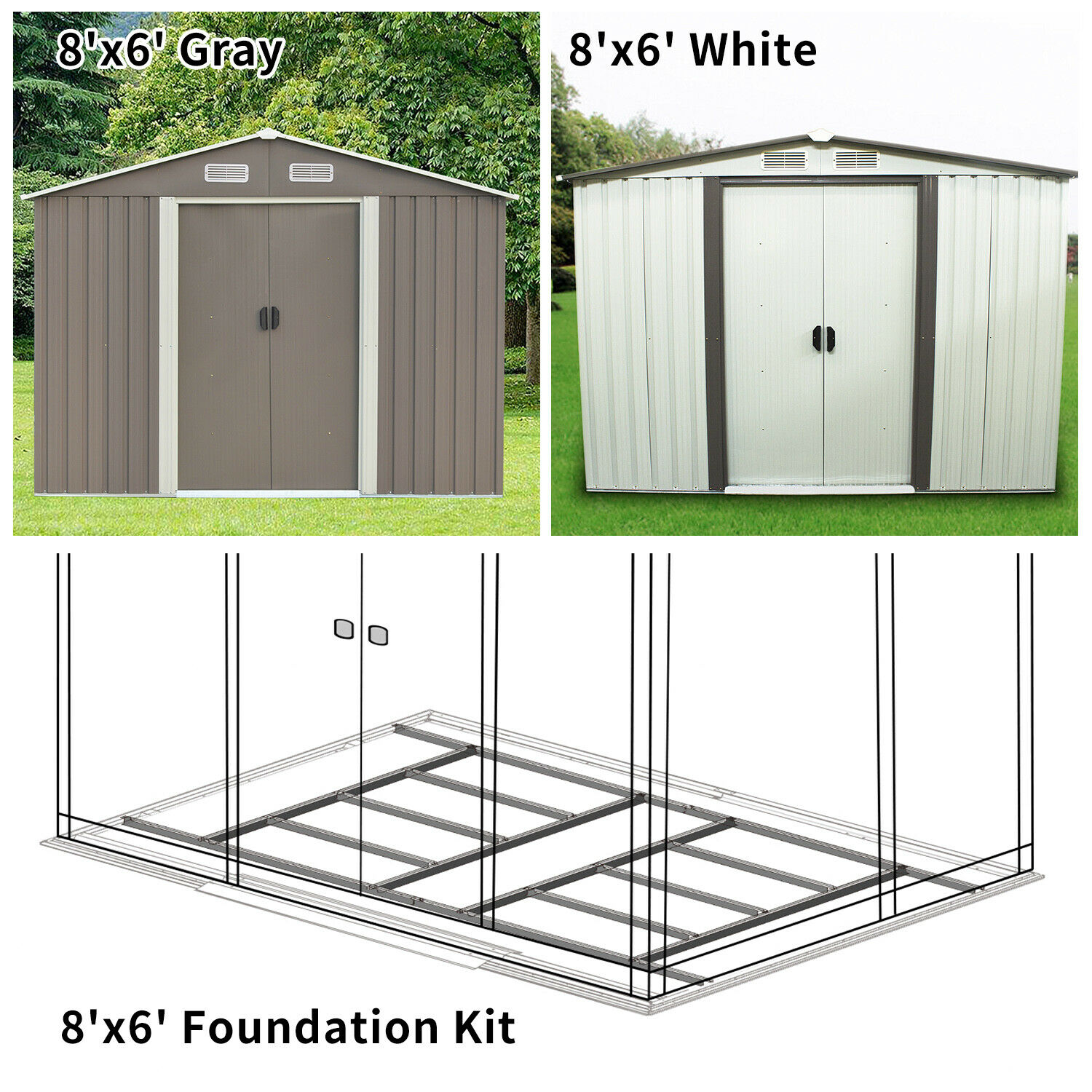 8'x6′ Outdoor Garden Storage Shed Steel Garage Tools Utility Foundation Kit Lawn