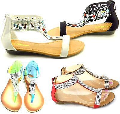 Women/'s New Summer Thong Sandals Rhinestone Gladiator Round Strap Shoe Sz 5-10