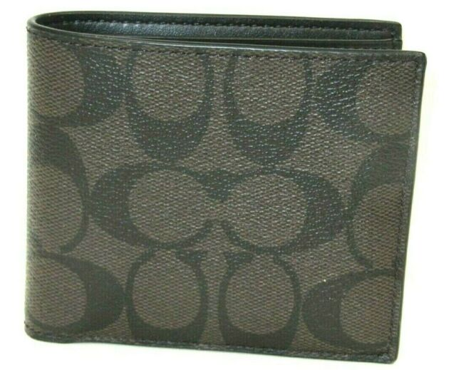 Authentic Coach Men/'s Signature Double Billfold Wallet Mahogany Brown F75083 NWT