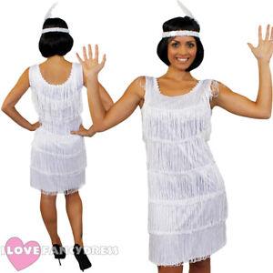 fb6fddef Image is loading DELUXE-WHITE-FRINGE-FLAPPER-FANCY-DRESS-ADULT-CHARLESTON-