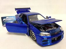 Fast Furious Brian's Nissan Skyline GTR R34 Collector Diecast 1:24 Jada Toy Blue