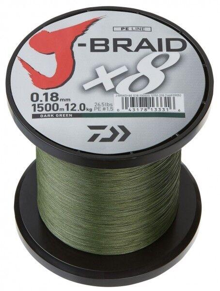 Daiwa J - Braid X8 fach geflochten Schnur dunkelgrün 0,18mm  12,0 kg
