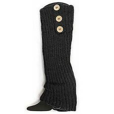 Black Button Crochet Leg Warmers