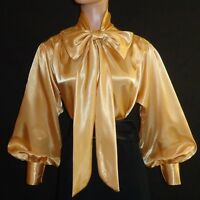 Gold Shiny Liquid Satin Bow Blouse Top High Neck Vtg Style Shirt S M L 1x 2x 3x