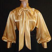 Gold Shiny Liquid Satin Bow Blouse Top High Neck Vtg Style Shirt S M L 1x 2x 3x