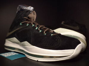 1a0ed84abd1c29 Nike Air Max LEBRON X 10 EXT QS BLACK SUEDE MINT GREEN WHITE 607078 ...