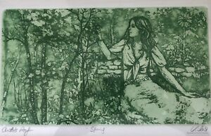 Artists-Proof-Mid-Century-Etching-034-Spring-034-by-Mary-Vickers-British-1940