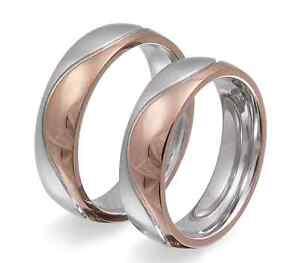 bastante agradable 90496 78cde Detalles de Dos alianzas elegantes Anillos de boda Acero Inoxidable Oro  Rosa bañado en oro