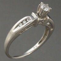Classic Elegant Platinum & Diamond Solitaire w/ Accents Engagement Wedding Ring