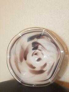 Vintage Murano ? Style Art Glass Hand Blown White Clear Brown Swirl Bowl Ruffled