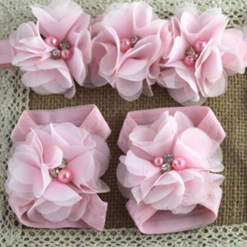 Gift headband 1Set Colourful Foot Flower Barefoot Sandals Set for Infants Girl