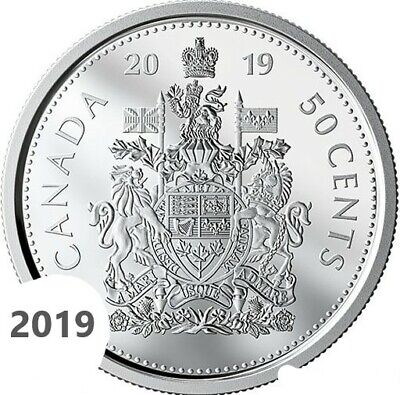 CANADA 2019 New 50 cents Coat of Arms of CANADA BU directly from mint roll