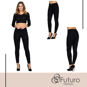 Ladies-High-Waisted-Cotton-Leggings-Full-Length-Stretchy-Pockets-Pants-FS242