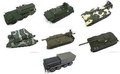 SET OF 7 RUSSIA MILITARY VEHICLES 1:72 DIECAST TANK WAR Tyulpan Uragan MAZ USSR