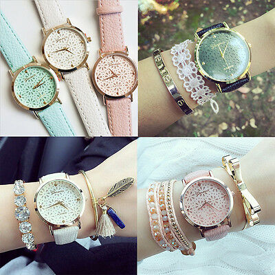 Hot Pretty Geneva Women's Ladies Flower Quartz Leather Band Bracelet Wristwatch