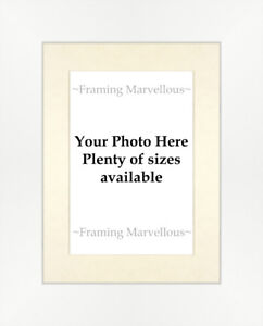 Matt White Effect Photo Picture Frame with White Mount Choose size