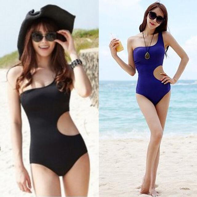 New Women Black Sexy One Shoulder One Piece Monokini Swimsuit Swimwear Bikini