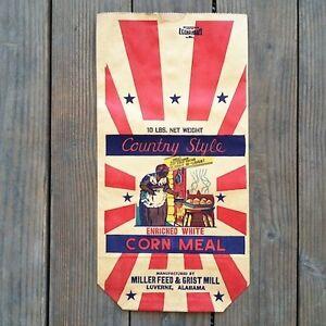 Vintage-Original-COUNTRY-STYLE-CORN-MEAL-Black-Americana-1920s-Breakfast-Bag-NOS