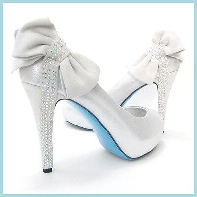 Something Blue Bridal Wedding Silver Ivory Pump Shoe Crystal Bow Bella Belle 8