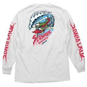 Santa-Cruz-Keith-Meek-WAVE-SLASHER-LONG-SLEEVE-Skateboard-Shirt-WHITE-LARGE