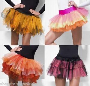 c8843fc73 Detalles de Mujer Capas Arcoiris Halloween Naranja Enaguas de Tul Falda  Tutú para Disfraz