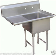 New 1 Compartment Food Prep Sink 18x18 Stainless Left Drain Board Nsf 7000