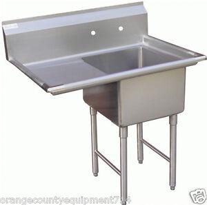 NEW 1 Compartment Food Prep Sink Left Drain Board NSF #1004 Drain ...