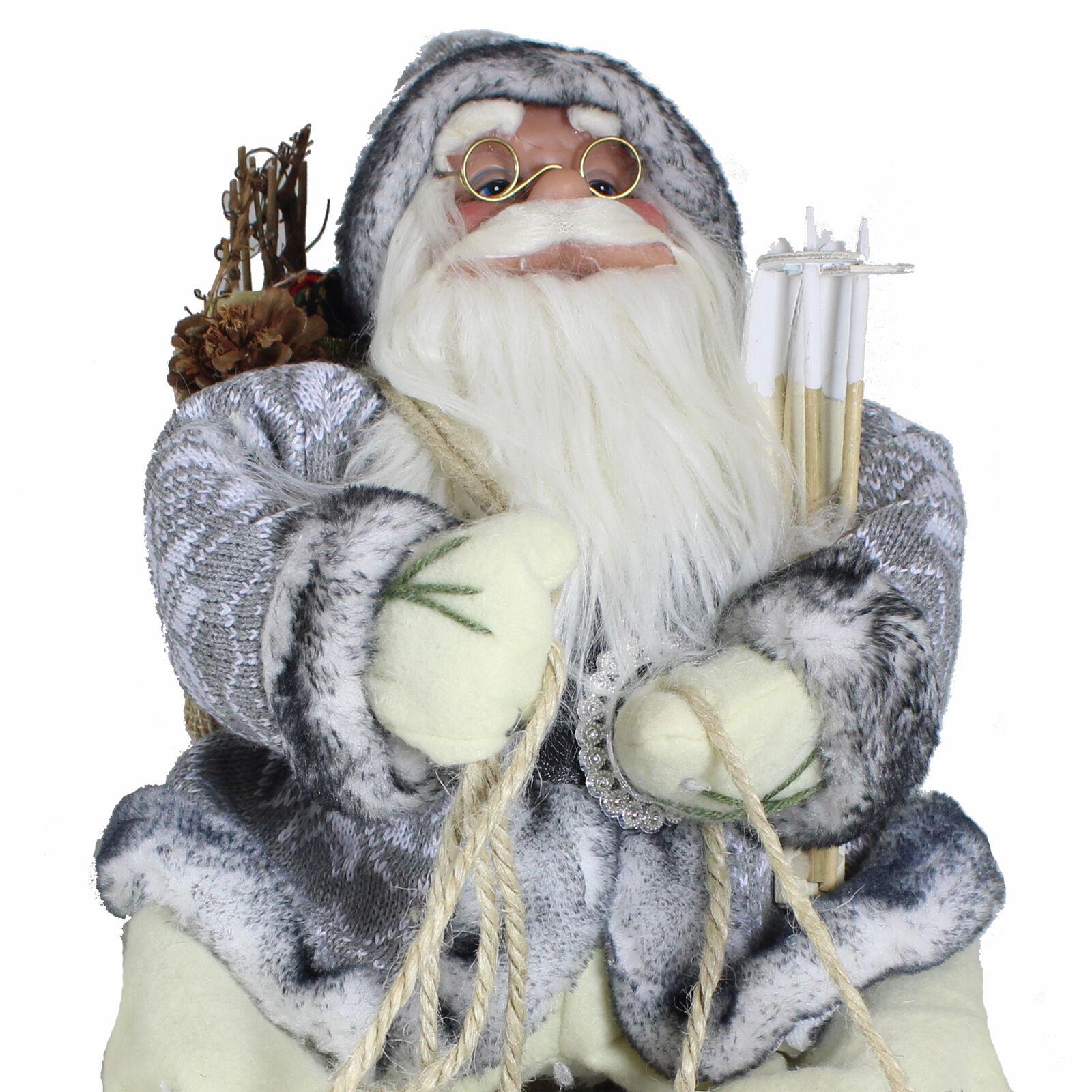 Decorazione di Natale 40cm Seduto Seduto Seduto Babbo su un Slitta - Grigio e Panna a87297