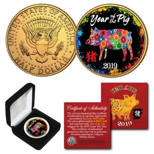 2019 Chinese New YEAR OF THE PIG 24K Gold Plated JFK Half Dollar Polychrome BOX