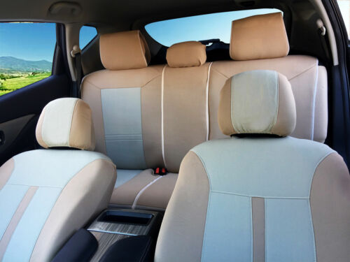 Two-tone Tan Poly Fabric Full Set Car Rear Split Seat Covers for Toyota #8661