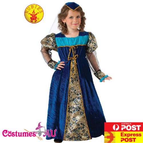 Girls Blue Camelot Princess Costume Medieval Renaissance Royal Queen Book Week