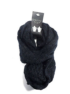 Eternity Scarf Loop Black w/Multi-Color Flecks Cable Knit Women's One Size New