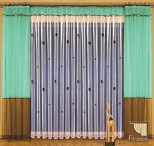 SALE!!! Gardinen SET LUCYLA 600/250 Ferig-Gardine grün braun weiß ...