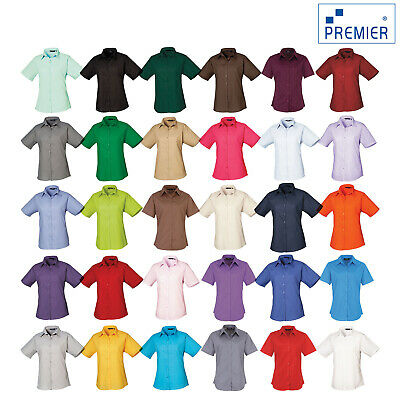 Premier Women's Short Sleeve Poplin Blouse Pr302