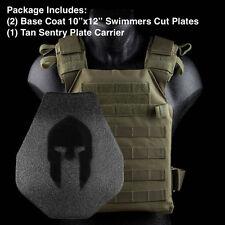 AR500 Spartan Body Armor | Swimmers Cut + Tan Sentry Plate Carrier Level III