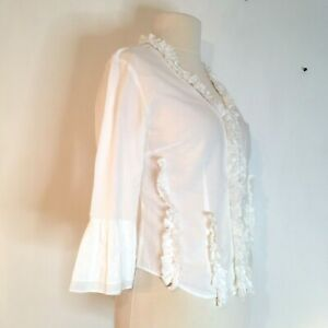 Per-Una-Blouse-Shirt-Top-UK-14-White-Ruffled-Cotton-Bell-Sleeve