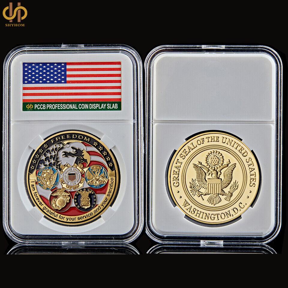 USA Challenge Navy USAF USMC Army Coast Guard Freedom Eagle Gold Plate Rare Coin