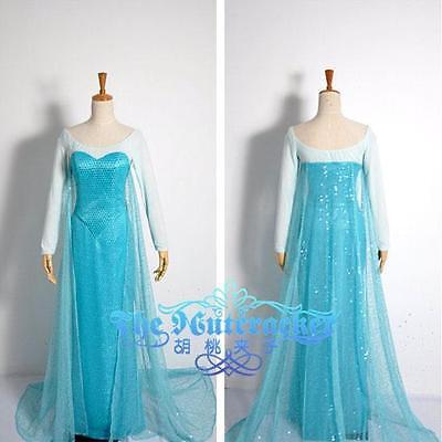 16 - M Disney Frozen Queen Elsa Adult Woman Gown Cosplay Dress Blue M