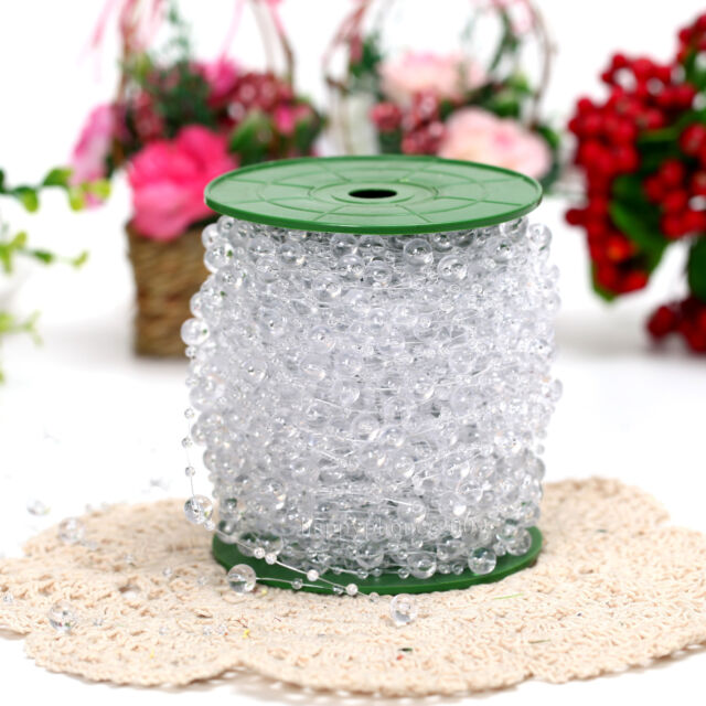 60m/roll Clear Crystal Acrylic Bead Garland Wedding Centerpiece Floral Decoratio