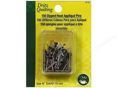 "Applique Pins Dipped by Dritz Quilting Black 150pc.3/4"" great for sewing & craft"