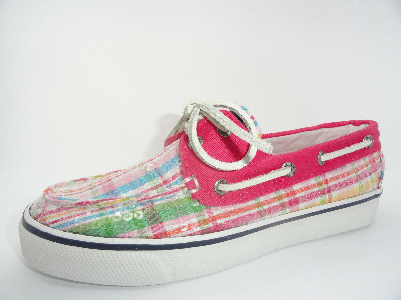Women's Sperry Top-Sider Bahama Pink Plaid Sequins Boat shoes Size 5.5
